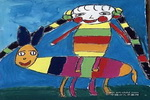 我骑毛驴儿童画作品欣赏