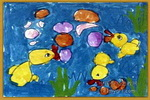 小鸭吹泡泡儿童画