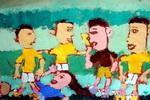 我爱世界杯儿童水粉画