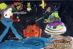 奥特曼大战儿童水粉画