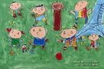 玩流星球儿童画作品欣赏