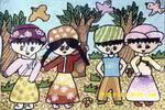 漂亮的民族服装儿童画