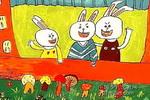 三只白兔儿童画作品欣赏