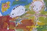 姐弟俩散步儿童画