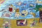 海滨儿童水粉画