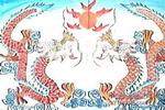双龙戏珠儿童水粉画