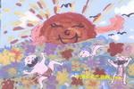 快乐花海儿童画