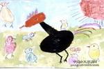 母鸡小鸡晒太阳儿童画作品欣赏