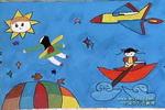 天空翱游儿童画图片