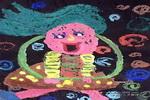跳呼拉圈的女孩儿童画作品欣赏