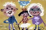 和姥爷姥姥在一起儿童画