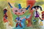 过大年儿童画3幅