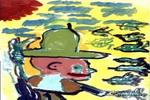 忙碌的老爷爷儿童画作品欣赏