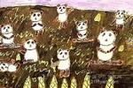 熊猫乐园儿童水粉画