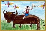 小放牛儿童画2幅