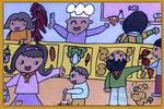 热闹的菜市场儿童画