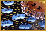 太阳和云儿童水粉画