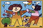 玩球儿童水粉画