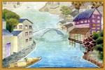 江南水乡儿童水粉画