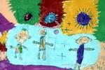 爸爸妈妈和我的彩色梦儿童画图片