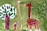 和长颈鹿比高儿童画作品欣赏
