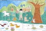 我和动物做朋友儿童水粉画