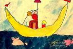 月亮船儿童画7幅