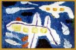 蓝天上的飞机儿童画