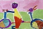 骑上我的小车儿童画图片