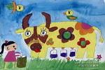 奶奶家的大奶牛儿童画作品欣赏