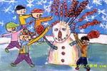 卖糖葫芦儿童画2幅