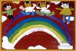 彩虹桥上来跳舞儿童画