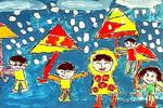 下雨儿童画3幅