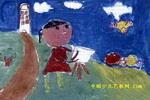 郊外写生儿童水粉画