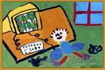 网上绿色儿童画