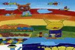 乘热气球旅行儿童画