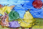 看日出儿童画3幅