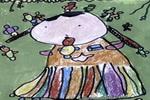我和小鸟亲亲嘴儿童画作品欣赏