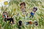 草丛中玩耍儿童画