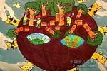救救地球儿童水粉画