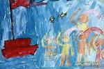 升旗仪式儿童画作品欣赏图片
