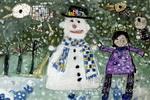 雪人和小鸟儿童画