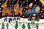 圣诞老人儿童画作品欣赏
