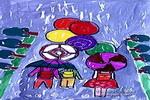 雨景儿童水粉画