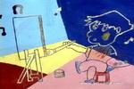 开心的小画家儿童画作品欣赏