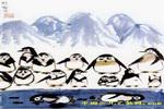 南极企鹅儿童水墨画