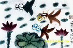 荷塘里的金鱼儿童画