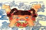 学游泳儿童水墨画