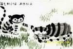 淘气的小猫儿童水墨画