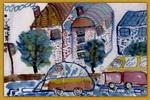 汽车与楼房儿童画
